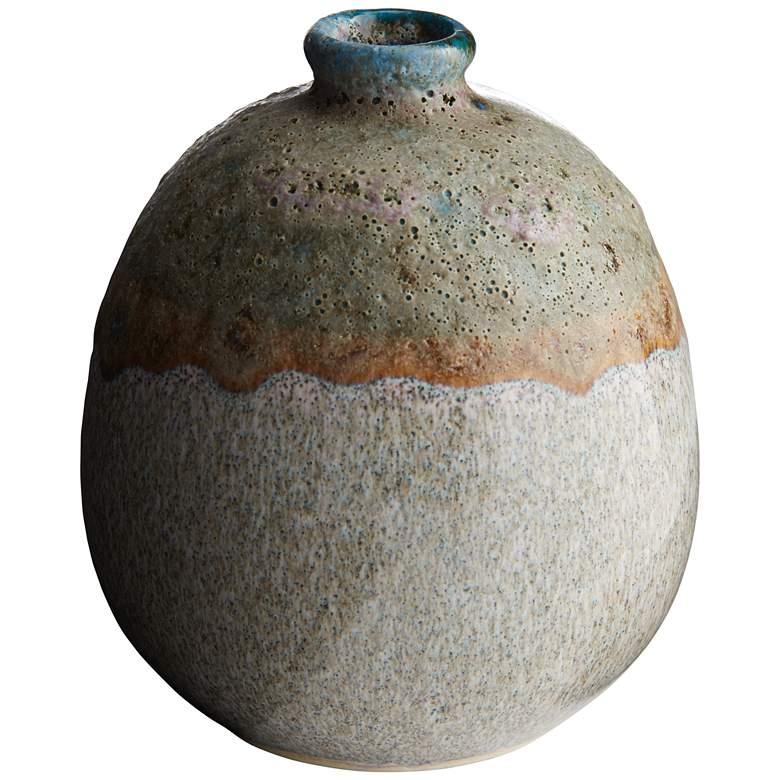 "Blue and Green Glaze 4 1/4""H Pearl Porcelain Decorative Vase"