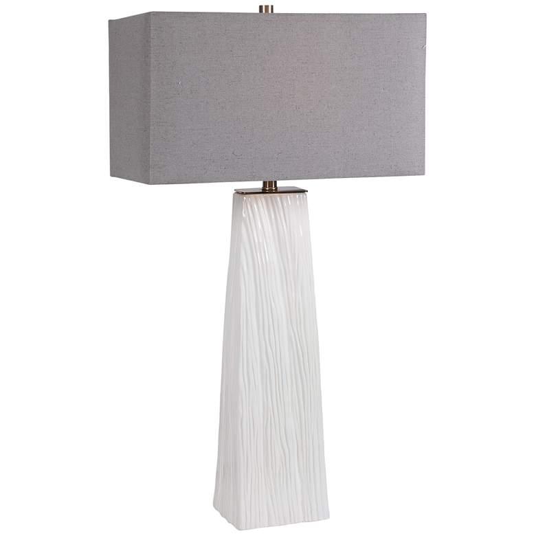 Uttermost Sycamore Gloss White Ceramic Table Lamp