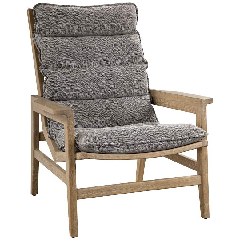 Uttermost Isola Charcoal Gray Fabric and Wood Accent Chair