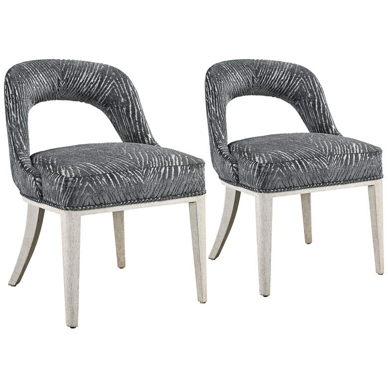 Amalia Charcoal and Gray Animal Print Accent Chairs Set of 2