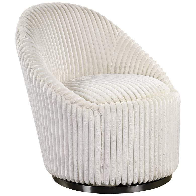 Uttermost Crue Fluted Ivory Chenille Swivel Chair