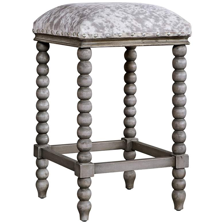 "Uttermost Estes 26"" Gray Faux Cow Hide Counter Stool"