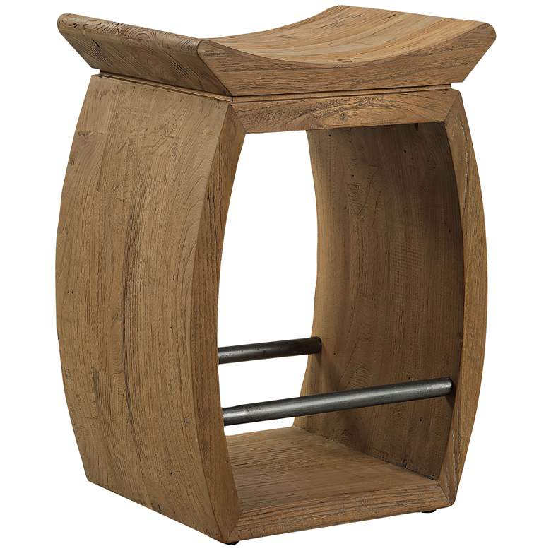 """Uttermost Connor 25"""" Brown Wood Counter Stool"""