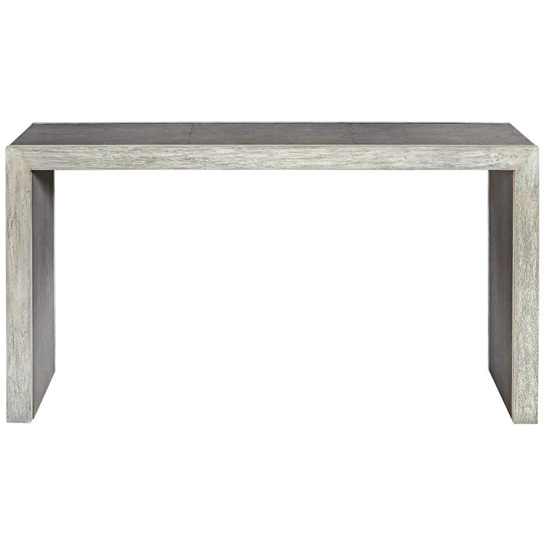 "Uttermost Aerina 60""W Gray Faux Shagreen Wood Console Table"
