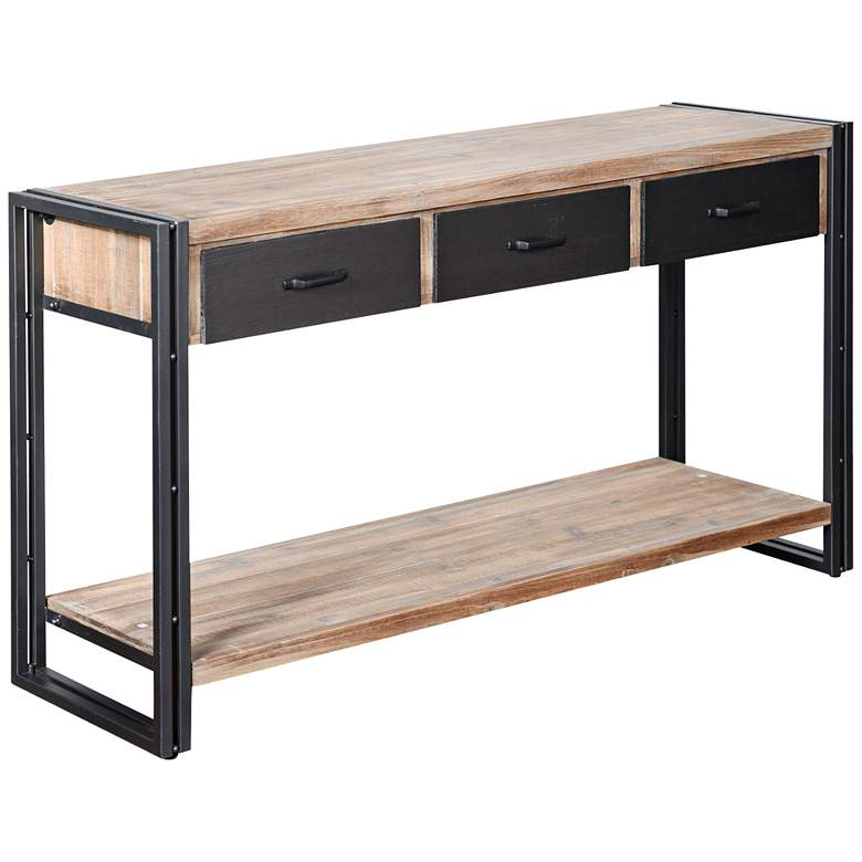 "Calvin 55"" Wide Gray and Natural 3-Drawer Console Table"