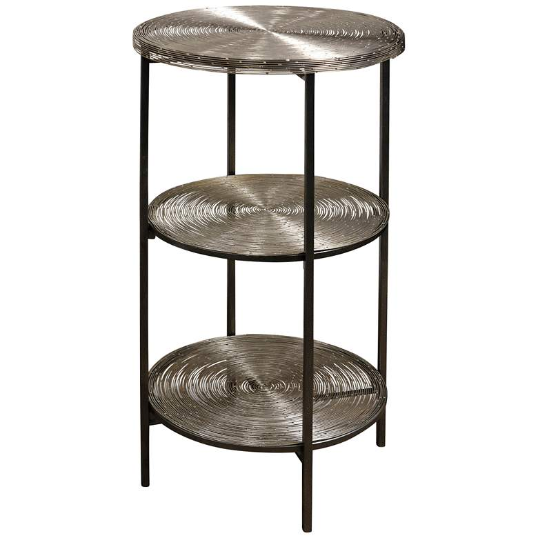 "Axel 15"" Wide Antiqued Nickel 3-Tier Round Side Table"