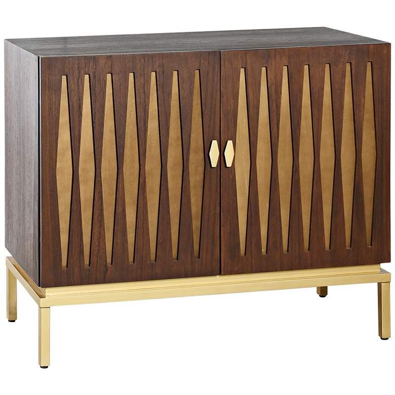 "Ryker 38""W Chestnut Brown and Gold 2-Door Credenza Cabinet"