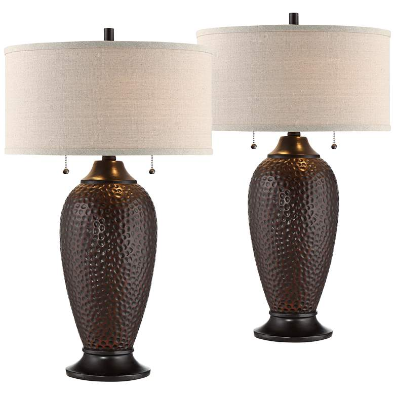Cody Hammered Bronze Table Lamp Set of 2 with WiFi Smart Sockets