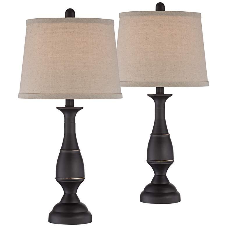 Ben Dark Bronze Table Lamp Set of 2 with WiFi Smart Sockets