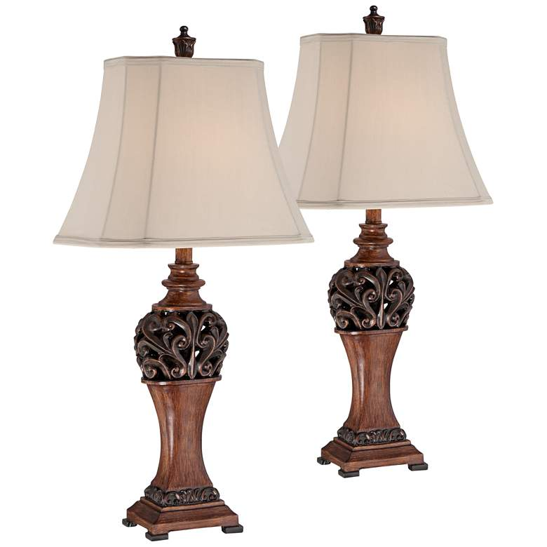 Exeter Wood Finish Table Lamps Set of 2 with WiFi Smart Sockets