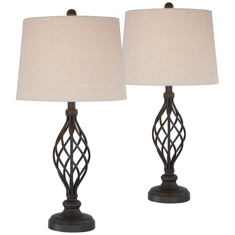 Annie Iron Scroll Table Lamps Set of 2 with WiFi Smart Sockets