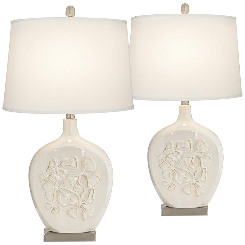 Ewan Ivory Ceramic Table Lamp Set of 2 with WiFi Smart Sockets