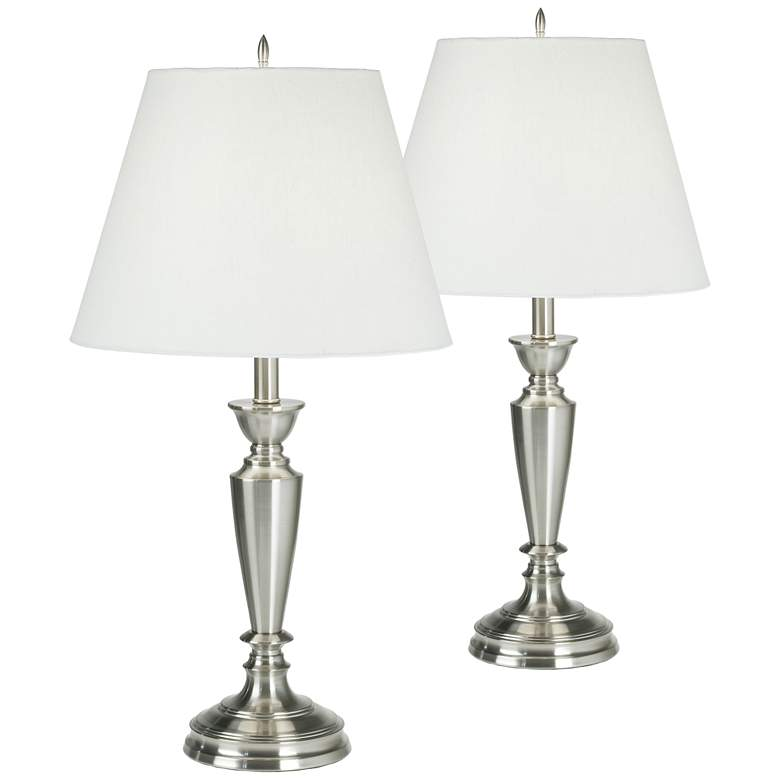 Brushed Nickel Table Lamps Set of 2 with WiFi Smart Sockets
