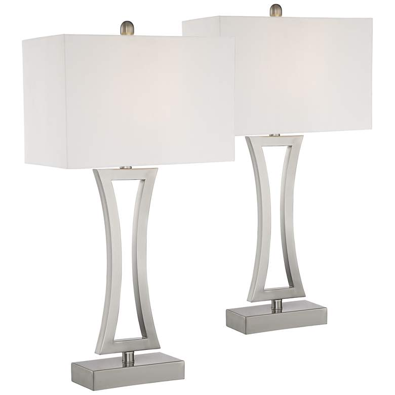 Roxie Brushed Nickel Table Lamps Set of 2 with WiFi Smart Sockets