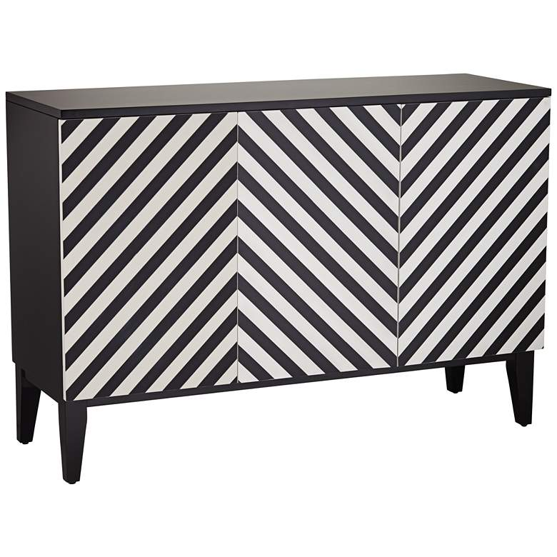 "Mason 15 3/4"" Wide Black and White 3-Door Console Table"