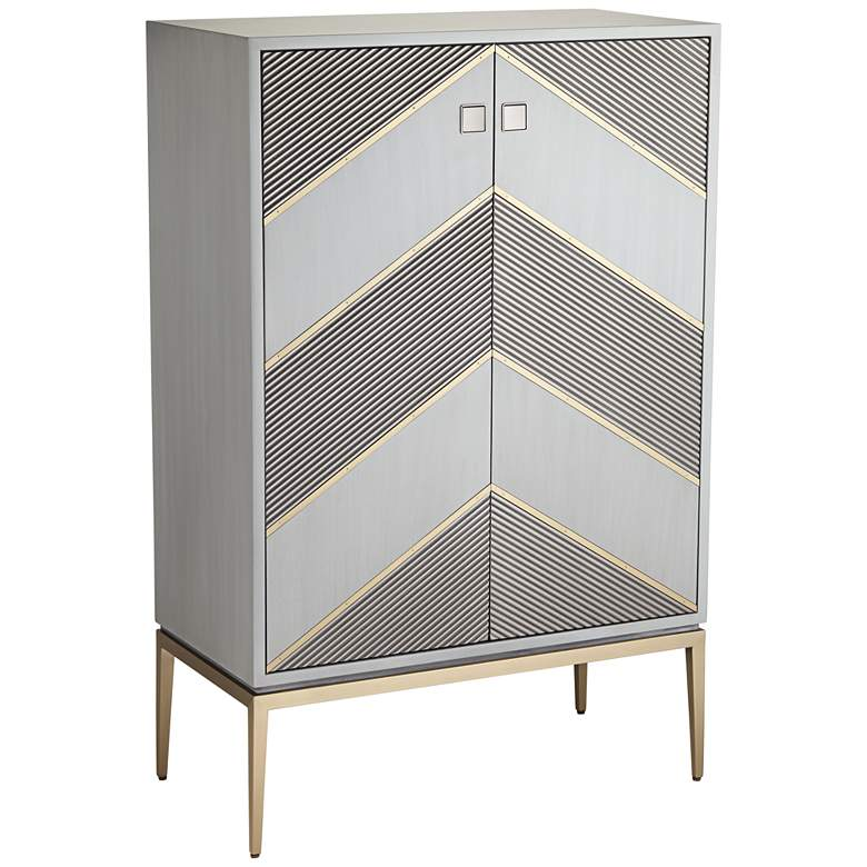 """Highland 15 3/4"""" Wide Gray and Champagne Chevron 2-Door Accent Chest"""