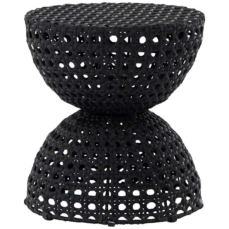 """Taber 15 1/2"""" Wide Black Woven Outdoor End Table"""