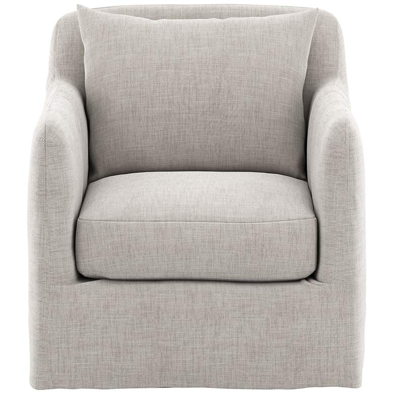 Dade Stone Gray Fabric Outdoor Swivel Chair