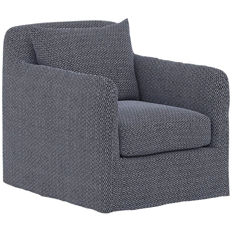 Dade Faye Navy Fabric Outdoor Swivel Chair