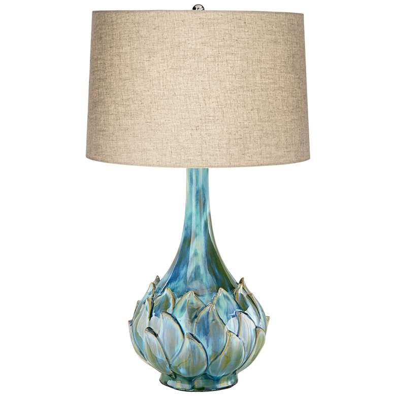 Possini Euro Kenya Blue-Green Ceramic Lamp with Table Top Dimmer