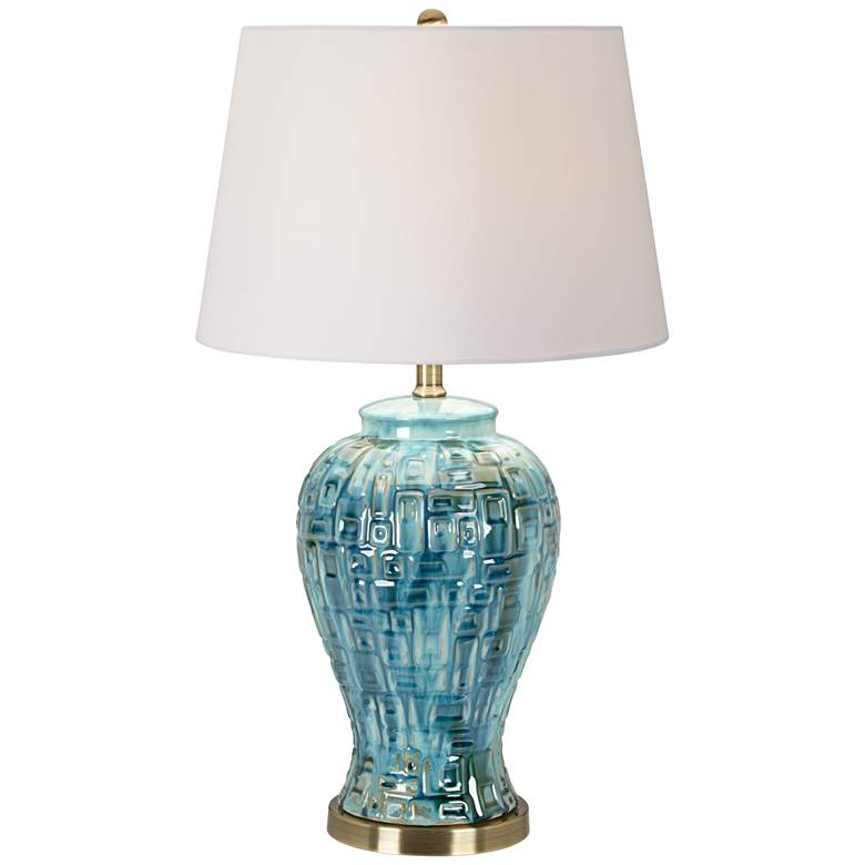 "Teal Temple Jar 27"" High Ceramic Lamp with Table Top Dimmer"