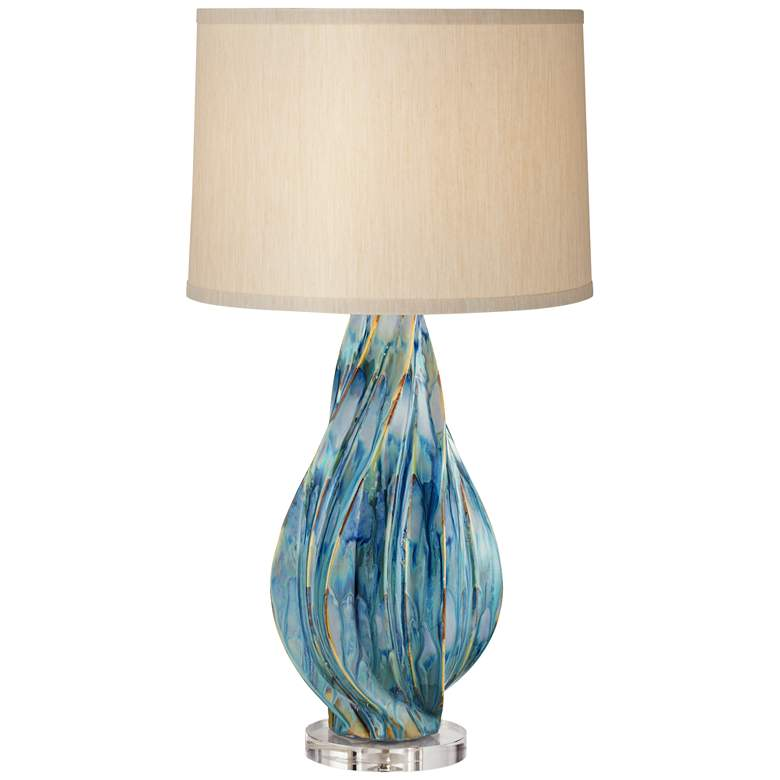 Teresa Teal Drip Modern Ceramic Table Lamp with Table Top Dimmer