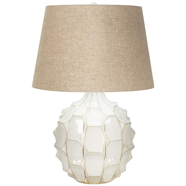 Cosgrove Round White Ceramic Modern Lamp with Table Top Dimmer