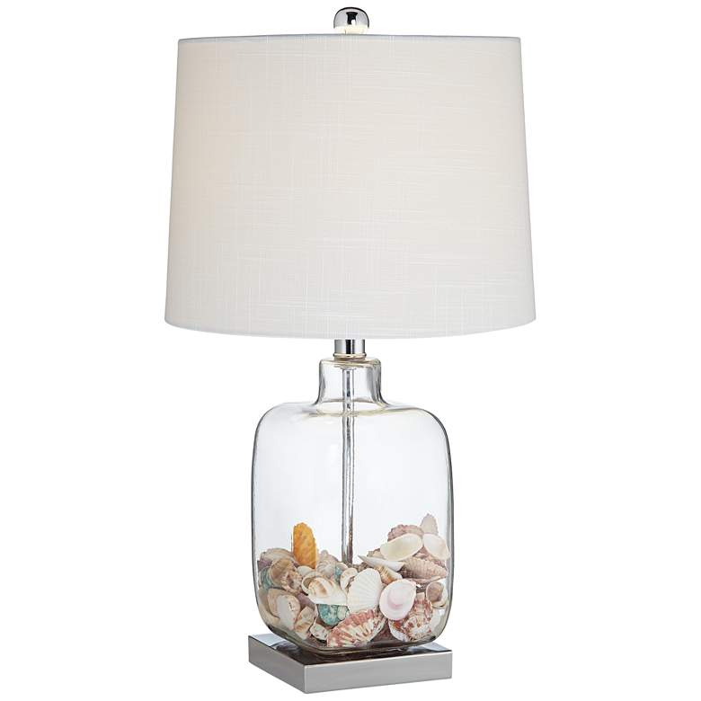 """Square Glass 21 3/4"""" High Fillable Lamp with Table Top Dimmer"""