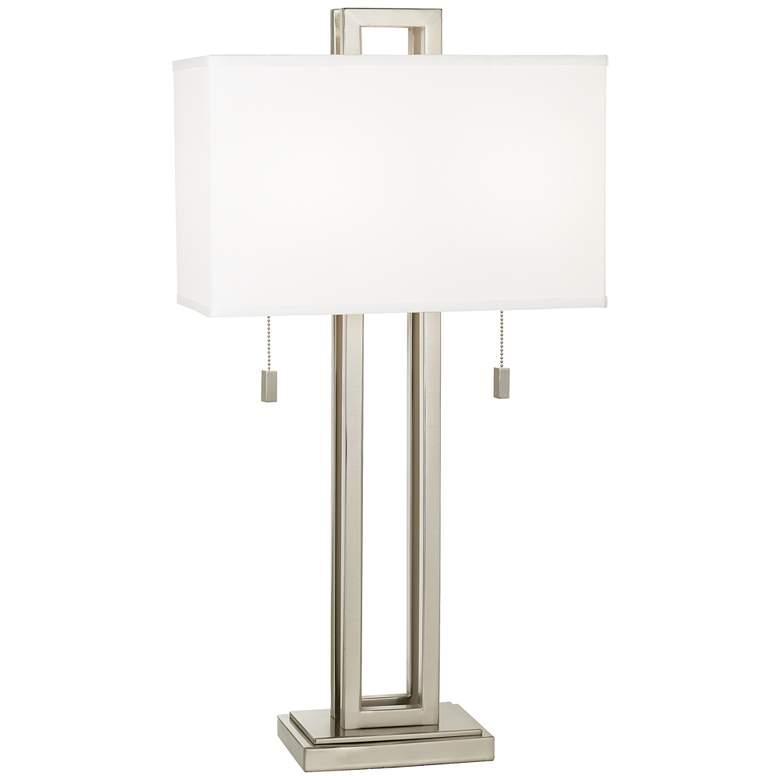 Possini Euro Brushed Nickel Rectangle Lamp with Table Top Dimmer