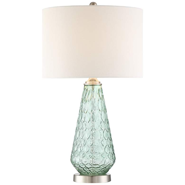 Julia Seafoam Green Glass Table Lamp with Table Top Dimmer