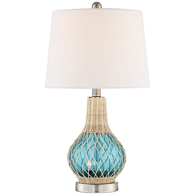 Alana Blue Glass Accent Night Light Lamp with Table Top Dimmer