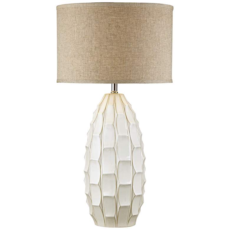 Cosgrove Oval White Ceramic Table Lamp with Table Top Dimmer