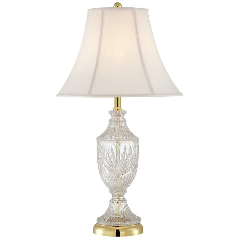 Cut Glass Urn With Brass Accents Lamp with Table Top Dimmer