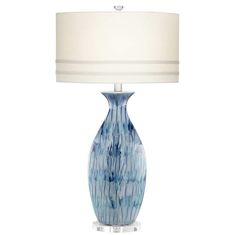 Possini Euro Annette Blue Drip Ceramic Lamp with Table Top Dimmer