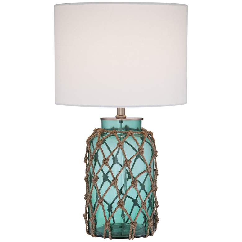 Crosby Blue-Green Bottle with Rope Glass Lamp with Table Top Dimmer
