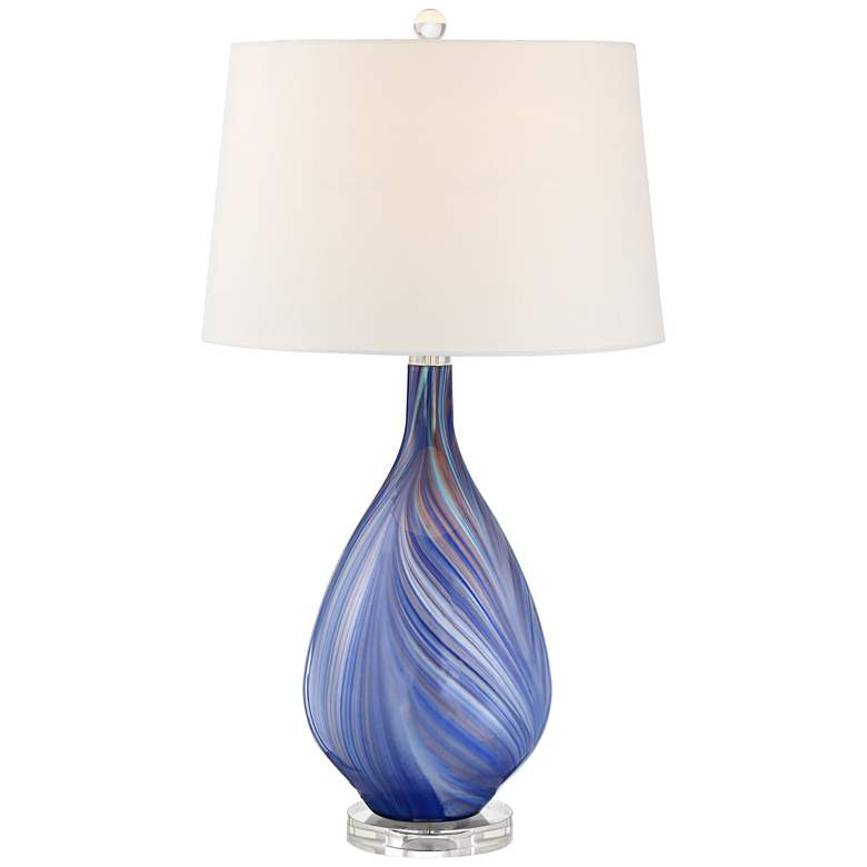Possini Euro Taylor Blue Art Glass Lamp with Table Top Dimmer