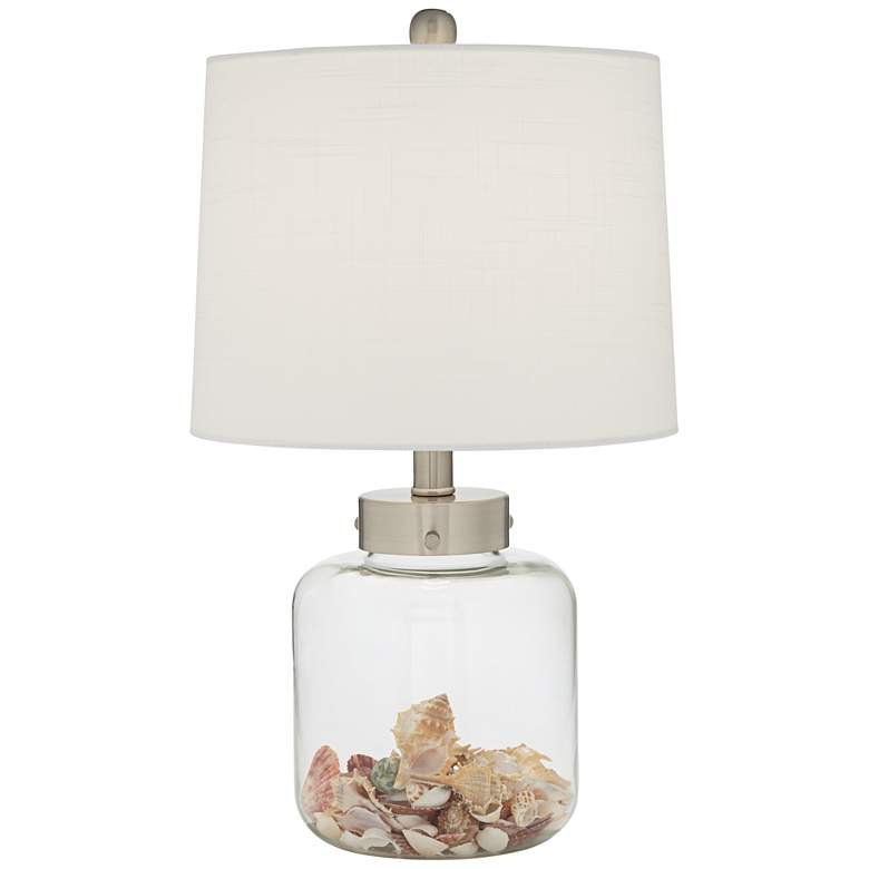 Glass Canister Small Fillable Accent Lamp with Table Top Dimmer