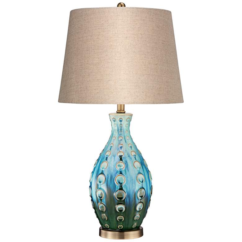Mid-Century Ceramic Vase Teal Table Lamp with Table Top Dimmer