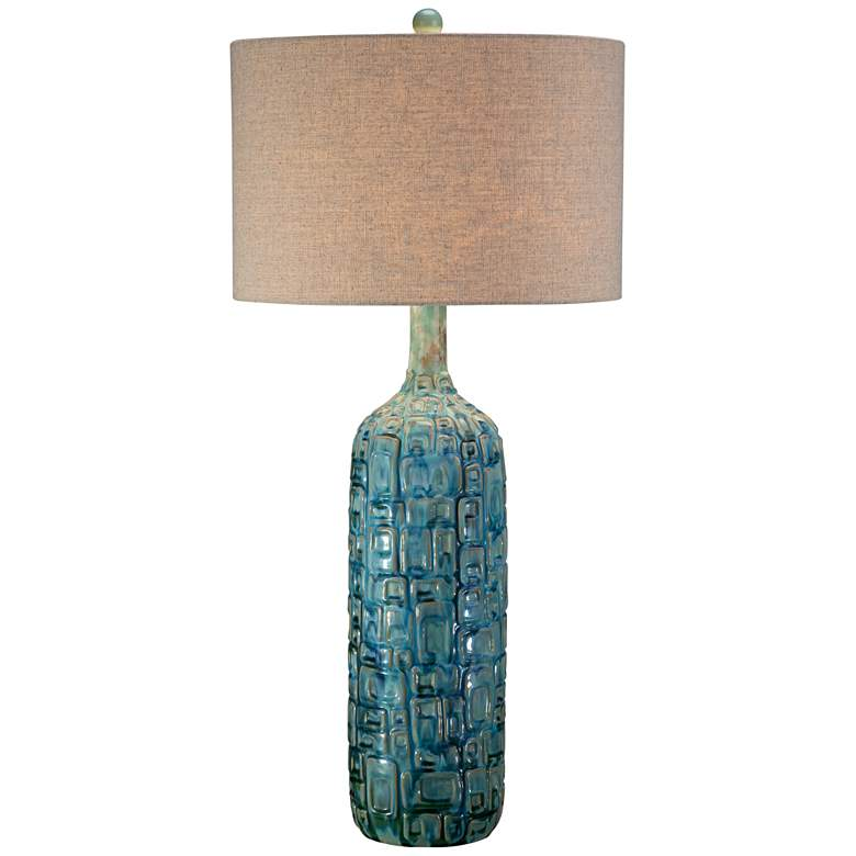 Possini Euro Teal Ceramic Mid-Century Lamp with Table Top Dimmer