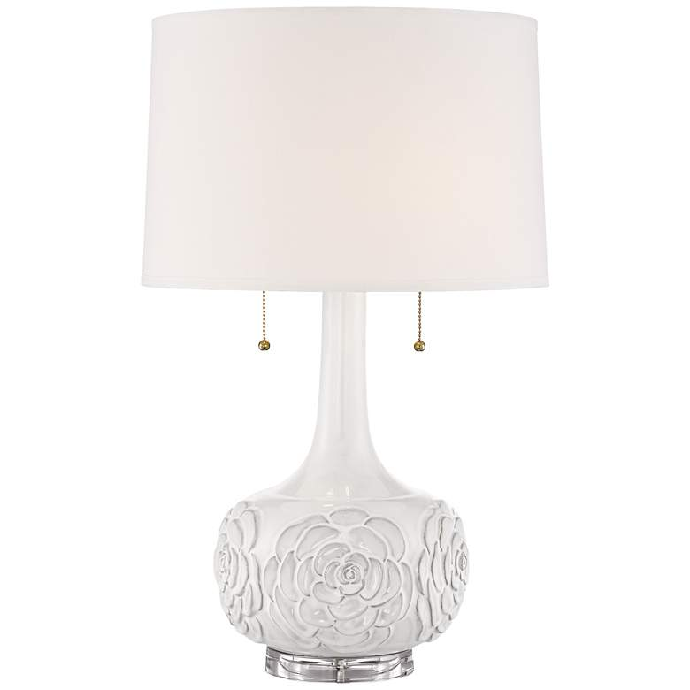 Possini Euro Natalia White Floral Lamp with Table Top Dimmer