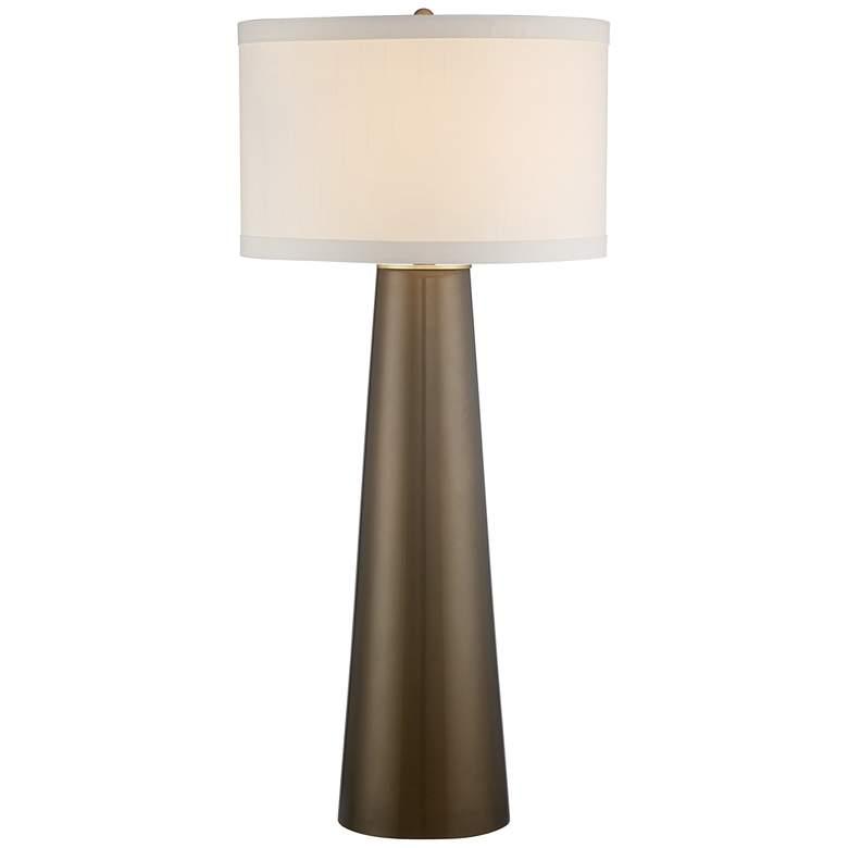 Possini Euro Karen Dark Gold Glass Lamp with Table Top Dimmer