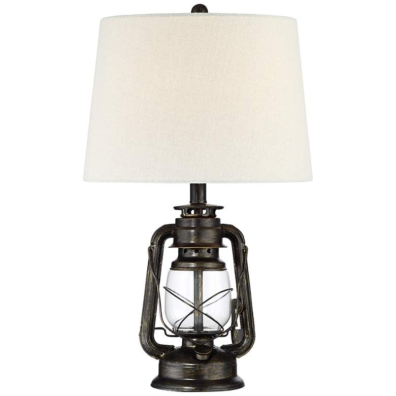 Murphy Weathered Bronze Miner Lantern Lamp with Table Top Dimmer
