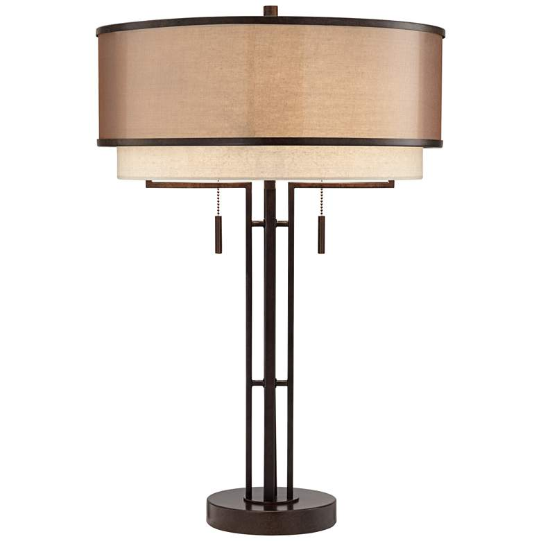 Andes Double Shade Industrial Table Lamp with Table Top Dimmer