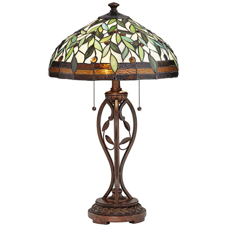 Blossoming Leaf Vine Bronze Tiffany Lamp with Table Top Dimmer