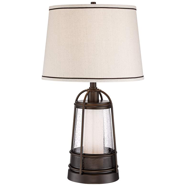 Hugh Bronze Lantern Night Light Table Lamp with Table Top Dimmer