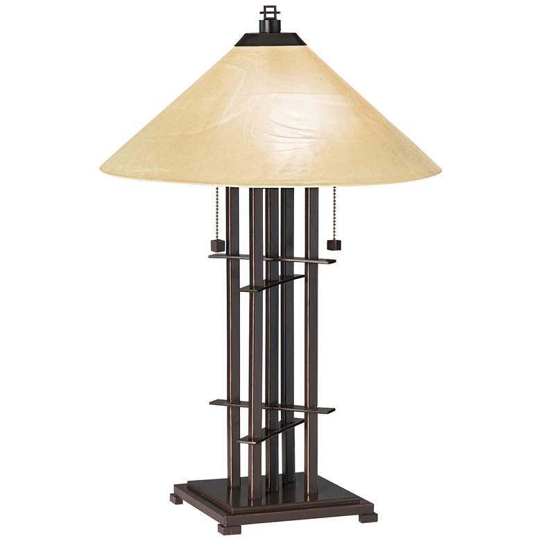 Metro Planes 'n' Posts Art Glass Table Lamp with Table Top Dimmer