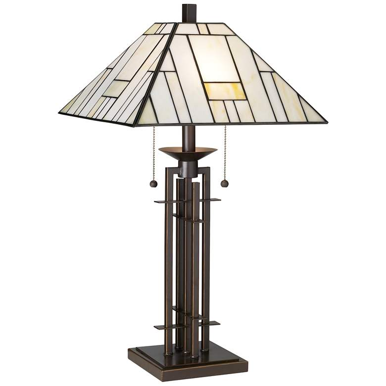Wrought Iron Tiffany-Style Table Lamp with Table Top Dimmer