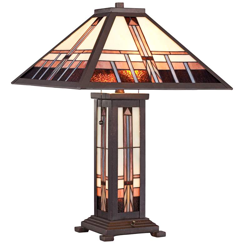 Robert Louis Tiffany Alfred Mission Lamp with Table Top Dimmer