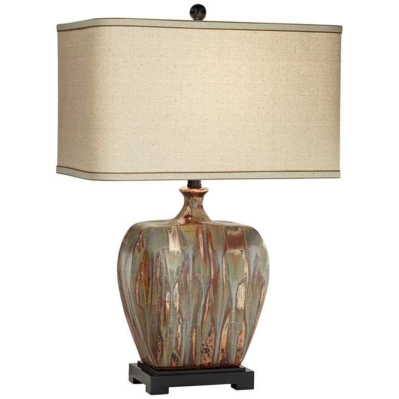 Julius Copper Drip Finish Ceramic Lamp with Table Top Dimmer