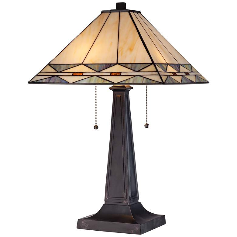 Mission Square Art Glass and Bronze Lamp with Table Top Dimmer